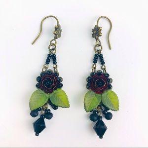 Colleen Toland Black Rose Drop Beaded Earrings Rare Vintage